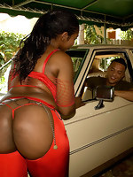 Ebony babe with huge ass takes hard dick deep