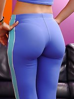 Hard body fat booties bending over and clad in shiny taut latex and spandex. Hot, hawt and cute ass cuties posing and teasing in drop dead nice-looking shiny leggings. Quality picture galleries showing of their taut ass and clinging spandex clothes.